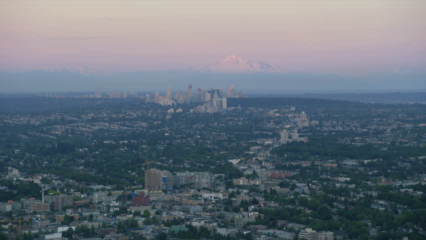 Aerial dusk view suburbs east Vancouver city Burnaby Mountain Conservation Area Mount Baker Burnaby District British Columbia Canada RED WEAPON