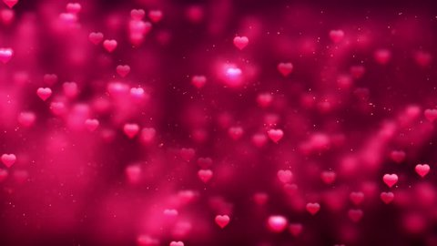 Romantic Spinning Dangling Glowing Love Hearts Shape pink Particles Flying & Moving Loop pink Background For Valentines Day, Mother's Day, birthday, Wedding , anniversary , greeting cards invitation