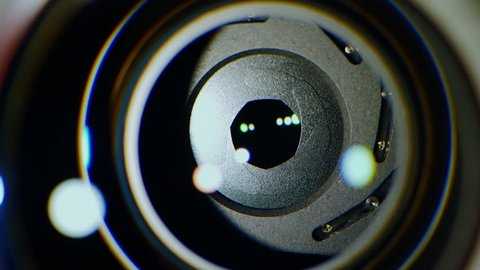 The light source illuminates the lens of the video camera, the mechanism of the operating aperture