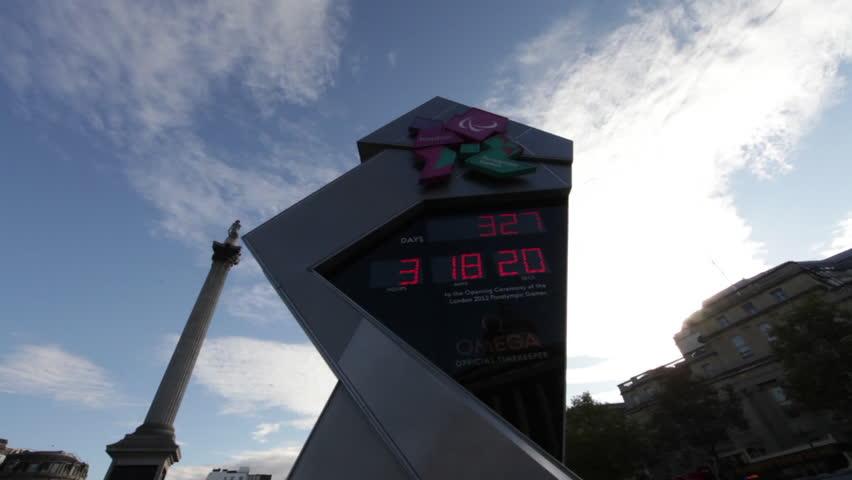 LONDON - OCTOBER 7, 2011: An Olympic countdown sign at Trafalgar Square
