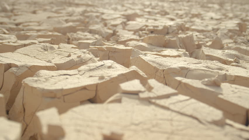 MACRO, DEPTH OF FIELD: Global warming and water shortage destroy fertile land. Scorching hot weather causes earth surface to crack and break apart. Desert rocks and rubble shining in blinding heat. | Shutterstock HD Video #34731925