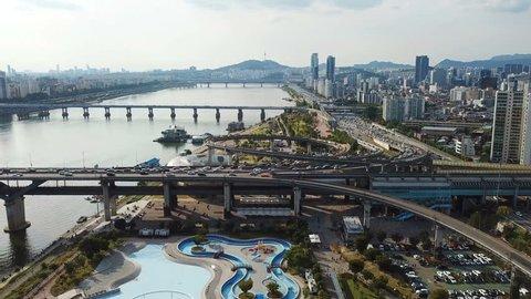 Aerial view at Seoul City Skyline ,South Korea