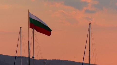 Bulgarian flag in Black Sea port city of Sozopol near Burgas in Bulgaria.