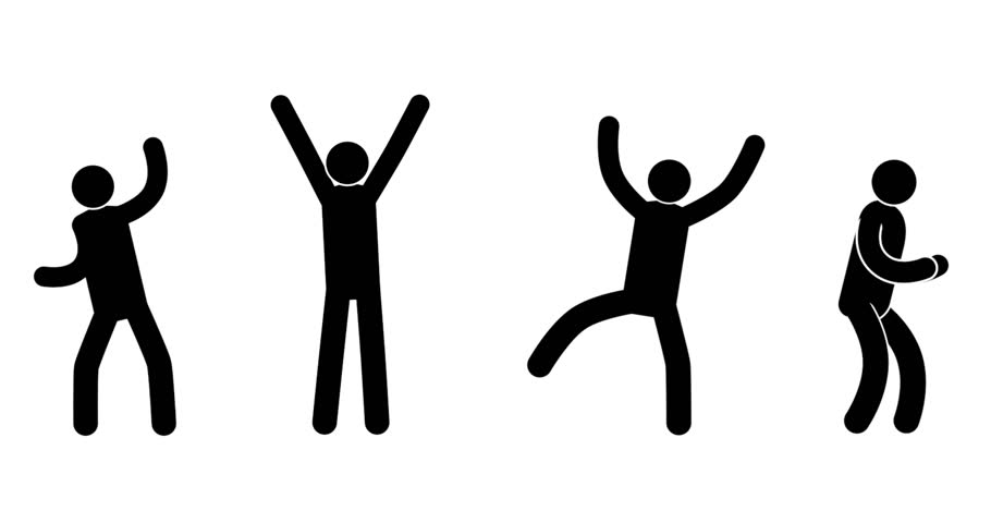 Pictograms people express their joy, success, achievement, victory. Four different options. Looped animation with alpha mask