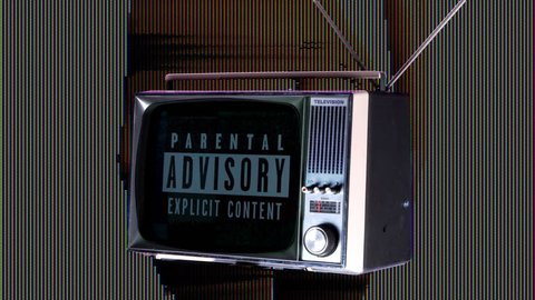 a television with parental advisory warning on it with a background pf mix of video clips from our own collection of sexy and erotic women which has been overlayed with distortion and glitch