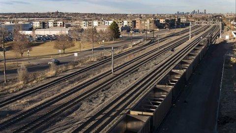 Coal Freight Train captured with Drone flight near Denver, Colorado