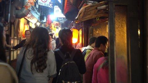 Tokyo, Japan - November 4 , 2017 : 4K Video of Famous steet Piss Alley delicious street food in Tokyo Japan at Omoide Yokocho, Shinjuku