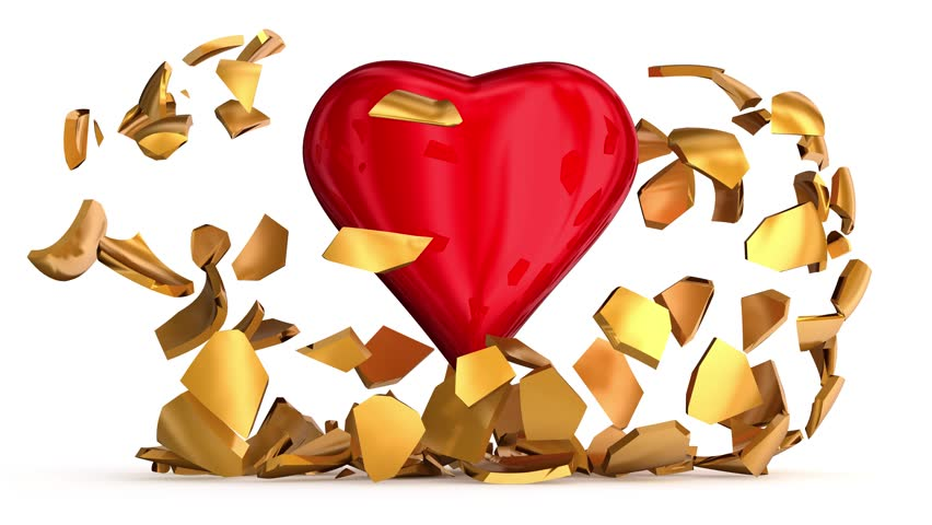 Gold shell of the heart is broken. 3d animation | Shutterstock HD Video #34812895