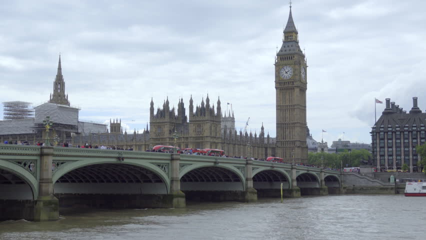 Static view of buses stopped on the bridge near parliament