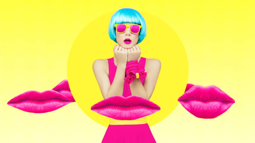 Minimal Motion art. Girl and fashion make up trends