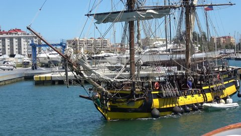 GIBRALTAR, MAY 2017 Amazing Tall Ship La Grace leaving Gibraltar Harbor