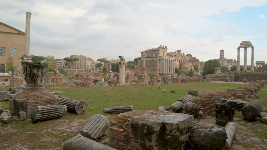Rock rubbles on the ground infront the Roman Forum in Palatino Rome in Italy on a sunny day
