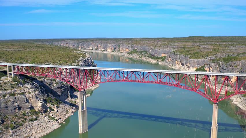 PECOS RIVER BRIDGE TEXAS MEXICO BORDER AERIAL DRONE