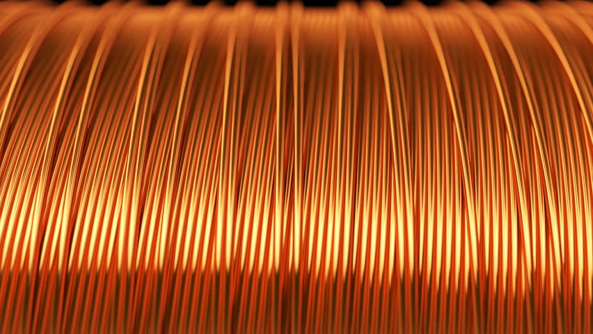 03094 Close up of the bare bright copper wire on the spool. CG loopable animation.