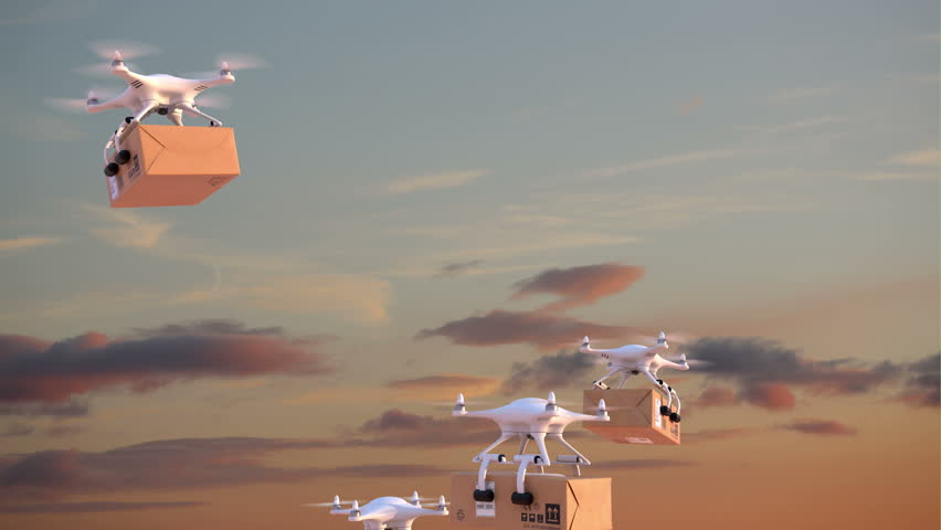 Quadcopters deliver packages against time-lapse evening sky background, 3d animation on green background, 4K