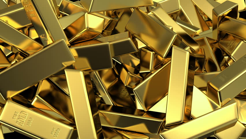 falling gold bars fills the screen, 3d animation with an alpha matte