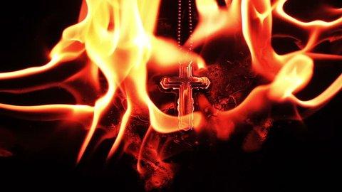Christianity Religion Symbol Cross on Fire Burning Hell