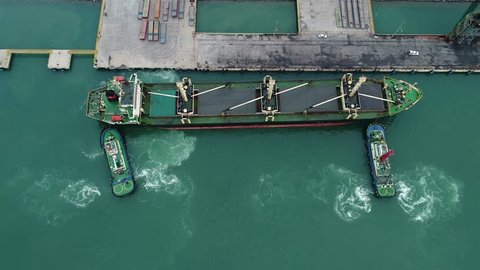 ship under berthing the terminal by navigation of pilot and safety circumstance assist pushing by tugs boats