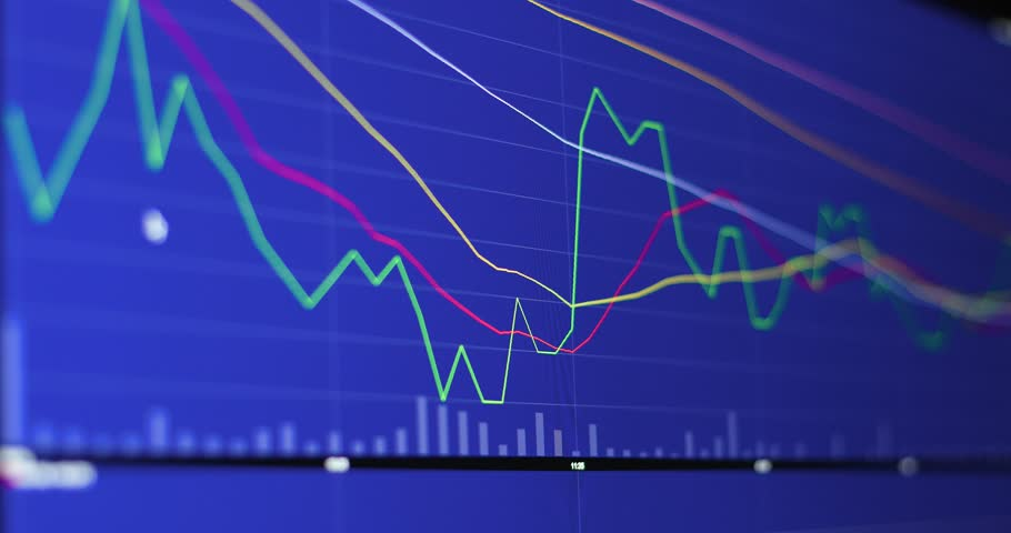 Stock market investment graph over blue screen | Shutterstock HD Video #34944421