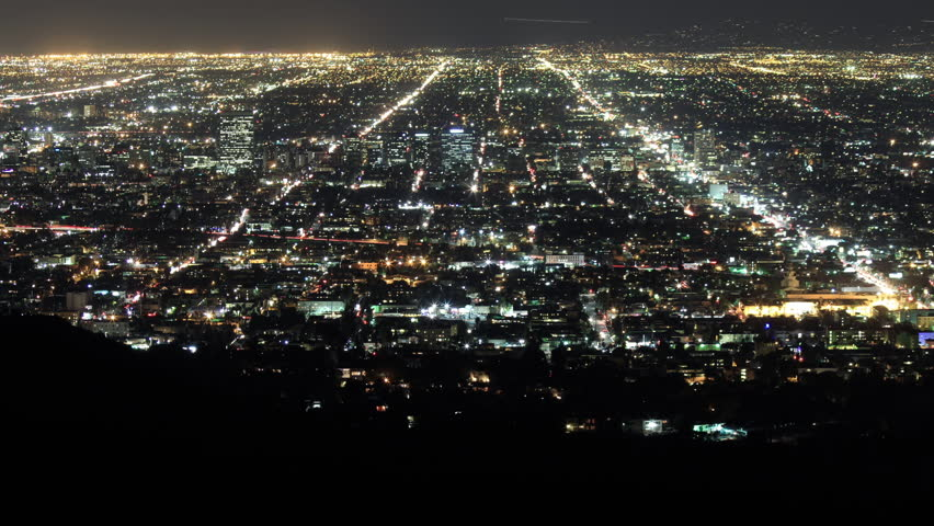 Time Lapse of Los Angeles at Night Showing Infinite Avenues and Boulevards