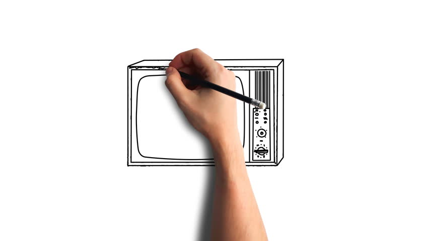 Whiteboard Stop-Motion Style Animation Hand drawing the old tv   Shutterstock HD Video #34998838