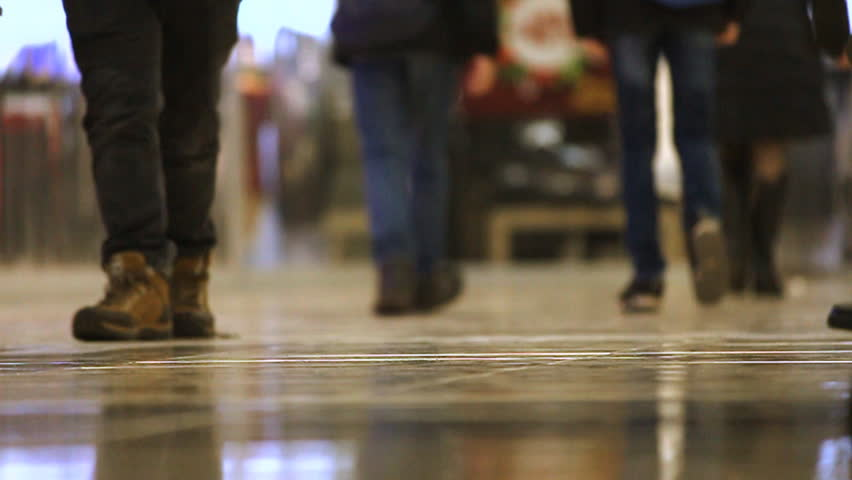 Slow Motion video. Feet of walking people in the shopping mall | Shutterstock HD Video #34999366