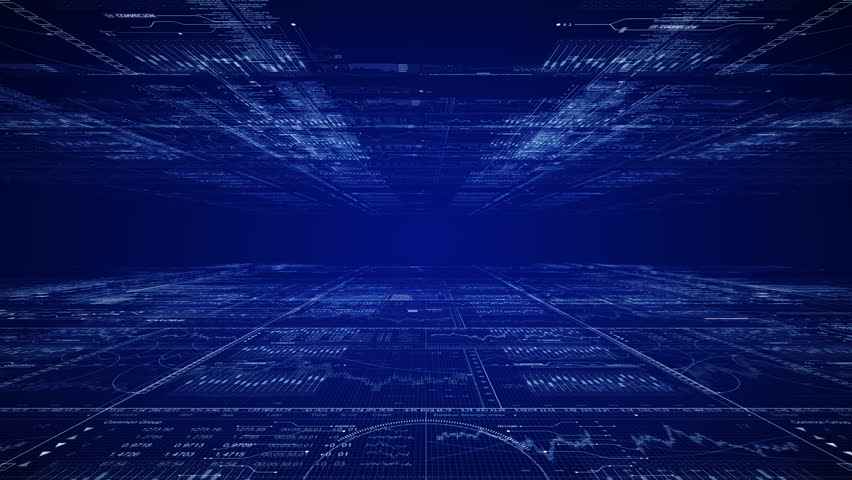 Camera moves through digital computer cyberspace.Programming data code text and futuristic HUD elements.Good for tech titles and background, news headline business intro screensaver.Blue. Type 1 | Shutterstock HD Video #35014225