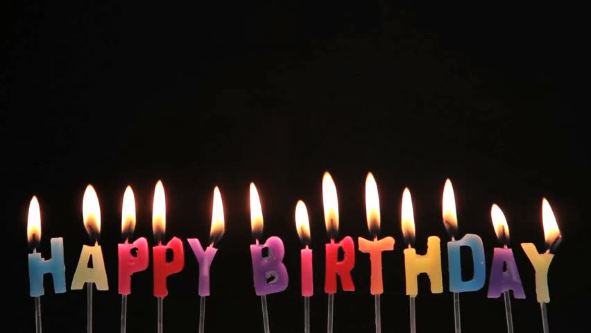 Happy Birthday Candles On Red Background Stock Footage
