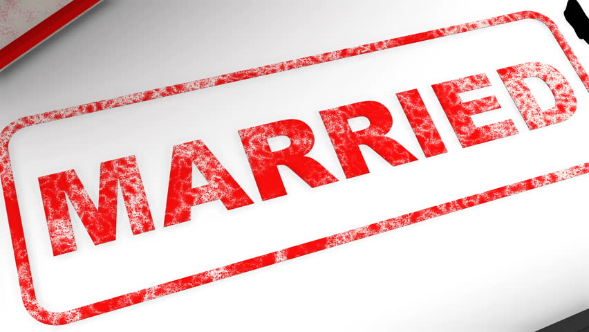"""Unmarried! Corrected seal impression. Red seal and imprint """"MARRIED"""" corrected to """"UNMARRIED!"""" on white surface. Isolated. Footage video 