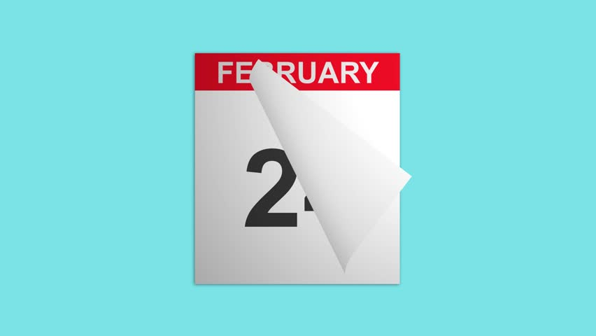 Closeup of a calendar with flipping through the days in February month, shot with blue screen background