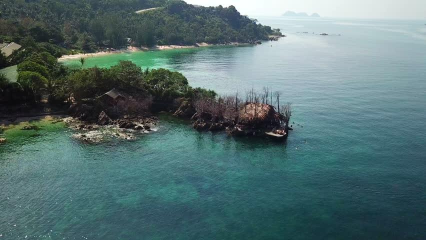 Island Hawaii Drone Flying Above Koh Raham Area Haad Son Sand Beach And Secret At