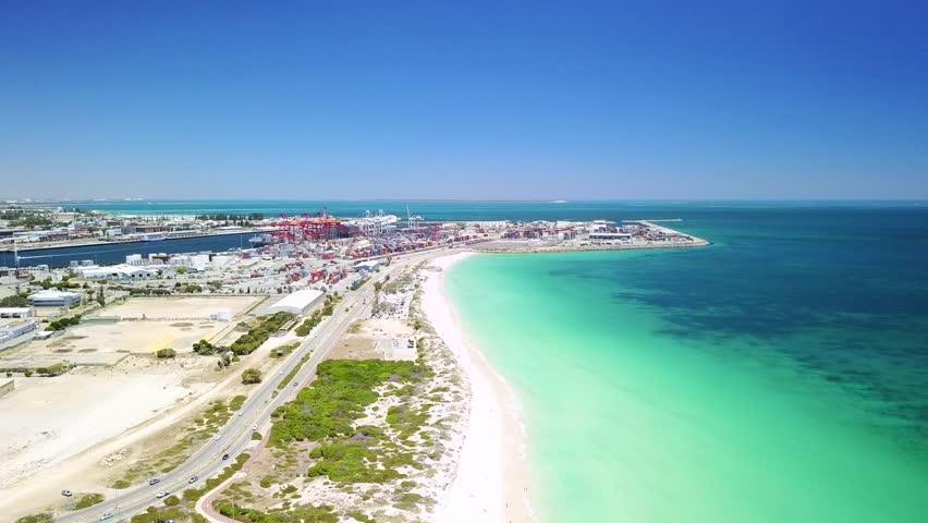 Aerial footage over Leighton and Port beaches near Fremantle, Perth, Western Australia.