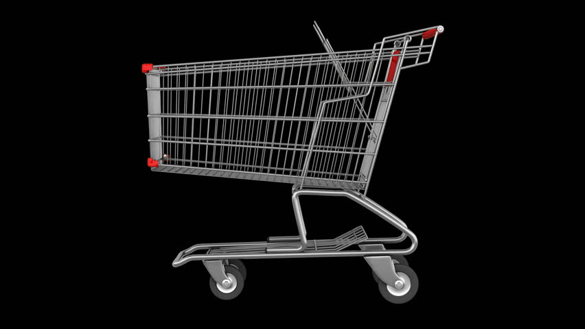 Empty shopping cart loop rotate on black background | Shutterstock HD Video #3528179