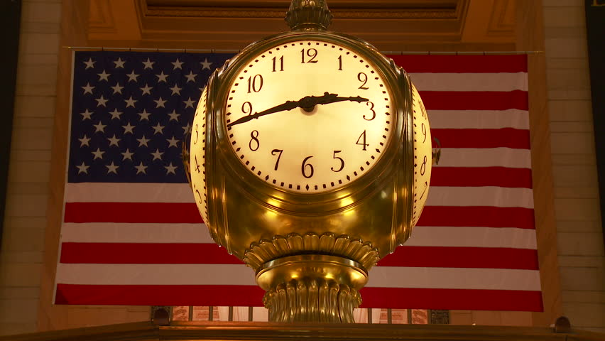 NEW YORK - MARCH 10: The clock on top of the information booth in Grand Central Terminal on March 10, 2013 in New York City.  The clock, a famous meeting place, was manufactured by Seth Thomas.