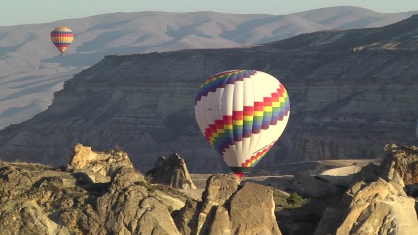 Hot air balloons in Cappadocia, Turkey.
