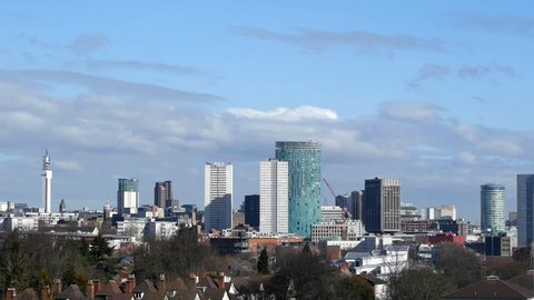 Birmingham England City Centre Skyline Timelapse. Timelapse of the towers, office blocks and hotels of Birmingham's city centre seen from Edgbaston.