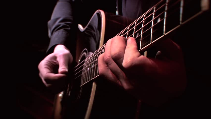 Guitarist Playing Acoustic Guitar On Stock Footage Video 100
