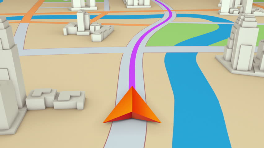 GPS navigation concept. Arrow moving forward on a map. Seamless loop.