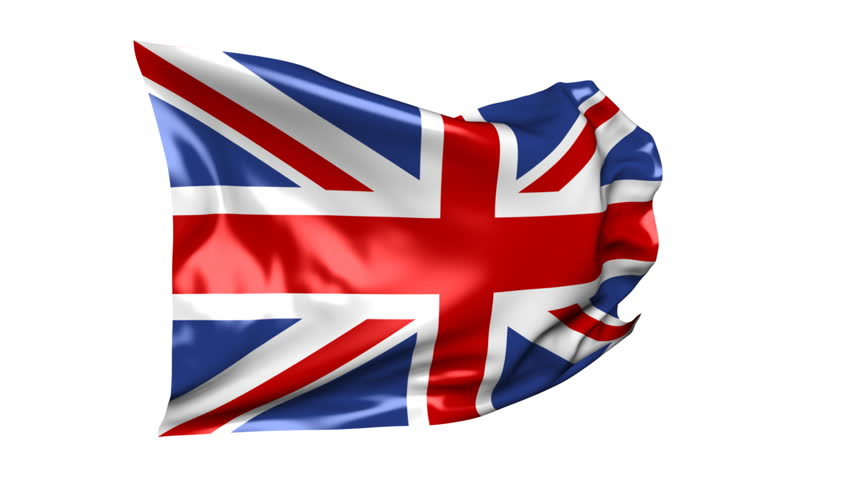 Flag of United Kingdom 06B (HD) - Waving flag of United Kingdom on the white background. Nice silk material, real simulation. Alpha matte for change of the white background included.