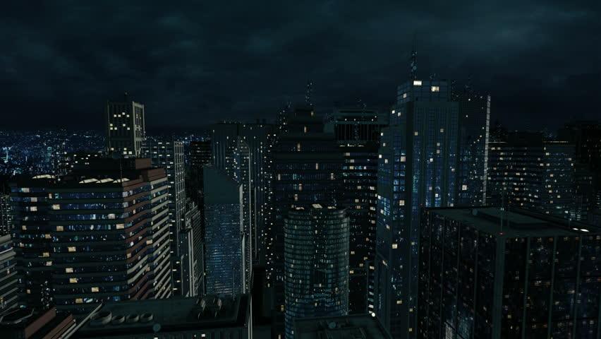 3D City Night Flight Seamless LOOP