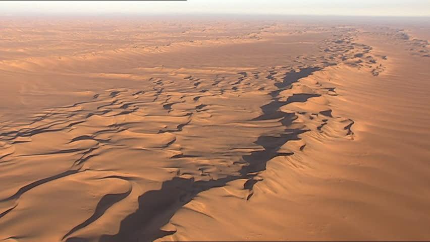 Aerial of desert sand dunes