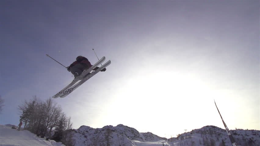 SLOW MOTION: freestyle skier jumping | Shutterstock HD Video #3586475