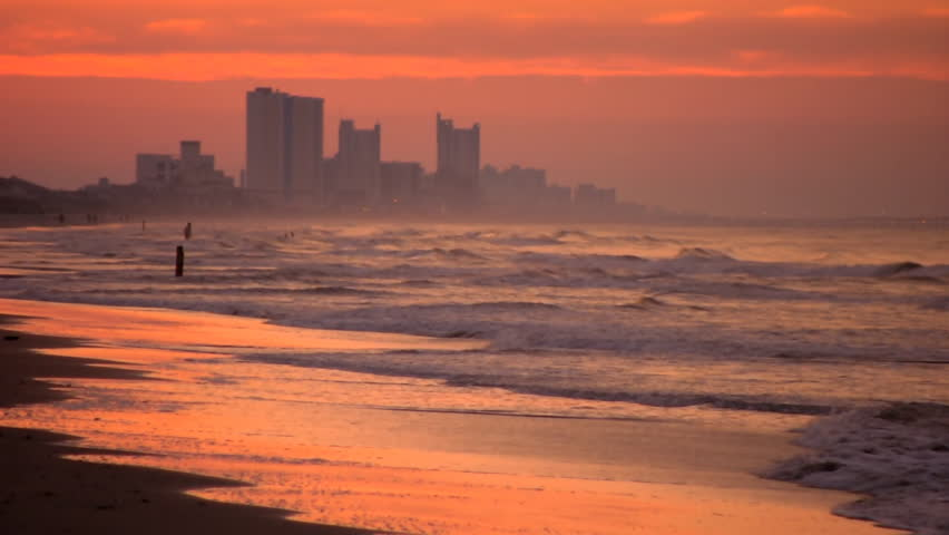 A Beautiful Sunrise In Myrtle Beach South Carolina On Summer Morning Stock Footage Video 3586955