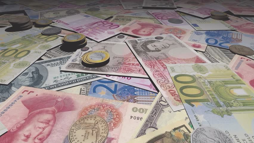 non-stop video, money of different currencies