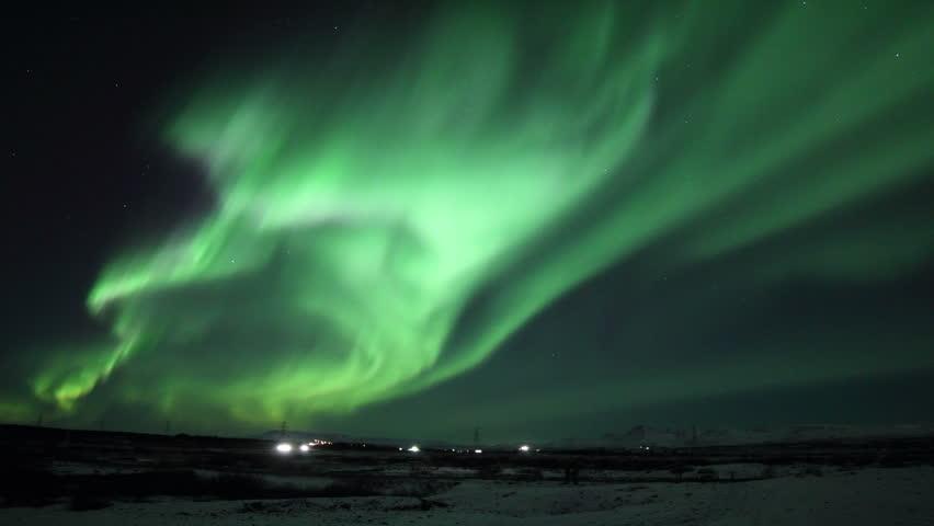 Massive Northern Lights Display, Reykjavik Iceland