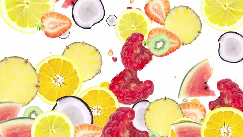 Falling chopped Fruits as background video with black Alpha video (from 0:15 to 0:30)