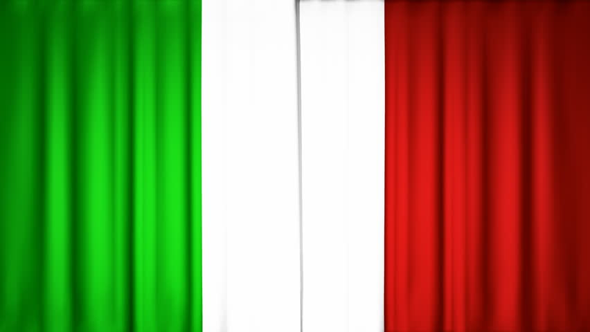 opening Italian flag theater curtains, with alpha channel