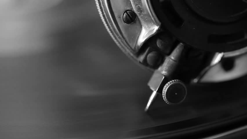 Old gramophone video, close up, macro shot