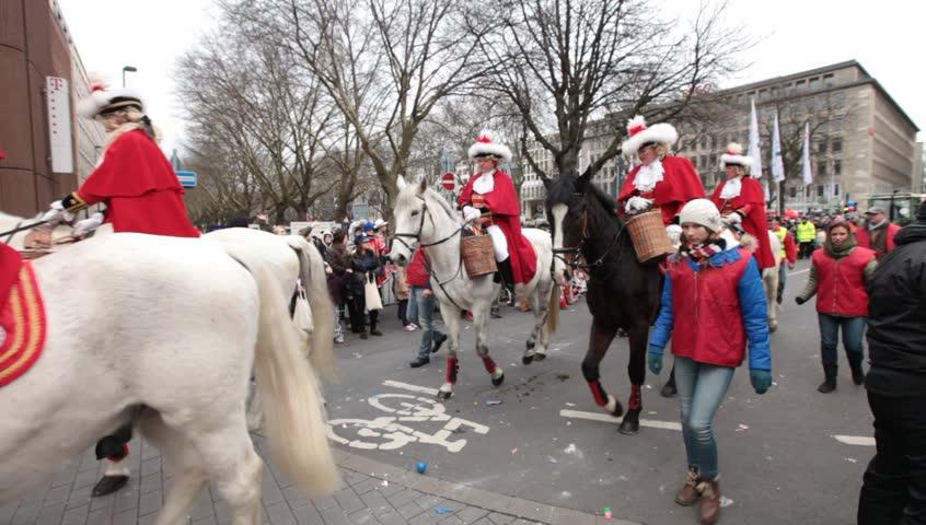 DUSSELDORF, GERMANY – FEBRUARY 11: People celebrate Rosenmontag Karneval or Carnival. February 11, 2013,  Düsseldorf, Germany