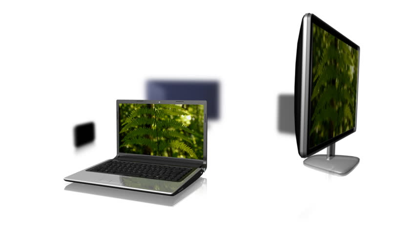 Multiple Platforms - Same Content. Same video clip playing on a laptop, a pc, a phone, a tv and a tablet computer. Loops. White background. Depth of field blur.